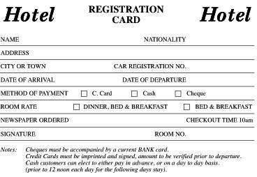 hotel registration card hospitality management free. Black Bedroom Furniture Sets. Home Design Ideas