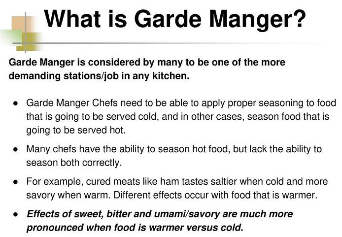 Garde Manager Job Description